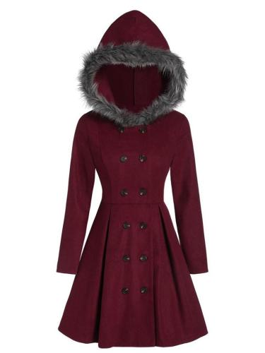 Solid Color Long Sleeve Double Breasted Flare Hem Hooded Coat