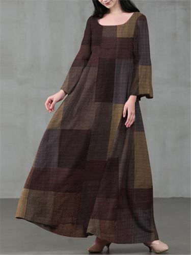 Loose Fit Scoop Neck Bell Sleeve Plaid Flare Maxi Dress