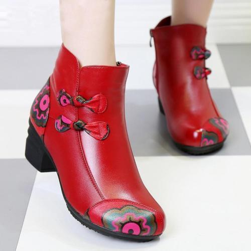 Retro Style Mid Heel Genuine Leather boots