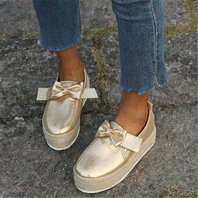 Casual Style Low-Cut Bowknot Deco High Platform Canvas Loafers