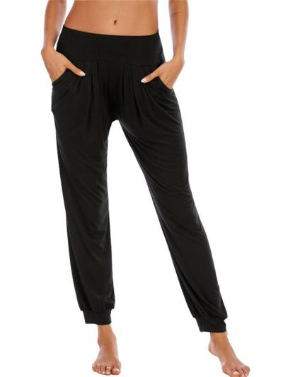 Tapered Fit Casual Solid Color Pocket Ankle Pants