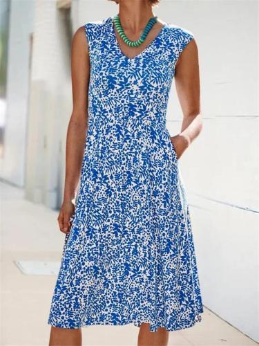 Fashionable V Neck Sleeveless Midi Length Pocket Flare Dress