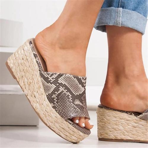 Women Slip-On Peep Toe Wedge Heel Plus Size Sandals