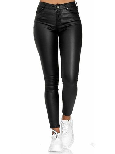 Slim Fit High Rise Button Closure Multi Pocket Leather Pants