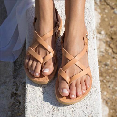 Summer Ankle Strap Buckle Flat Sandals