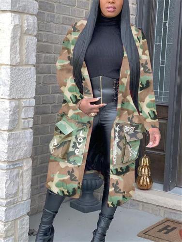 Oversized Camouflage Notched Collar Front Pocket Long Coat
