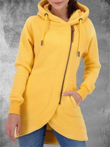 Comfortable Asymmetric Hem Zipper Pocket Drawstring Hooded Coat