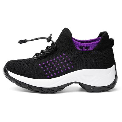 Lightweight Breathable Lace Up Mesh Low-Cut Thick-Sole Non-Slip Sneakers