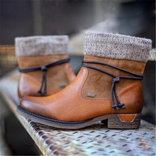 Women's Knitt Chunky Heel Side Zipper Boots
