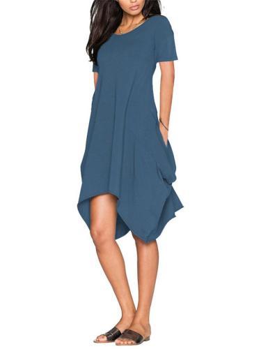 NEW Irregular Solid Collar Short Sleeve Pocket Dress