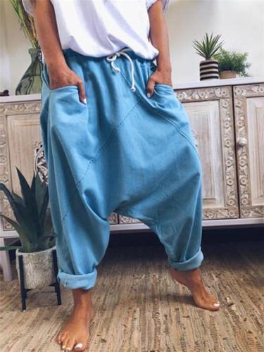 Casual Style Elastic Waist Band Drawstring Pocket Harem Pants