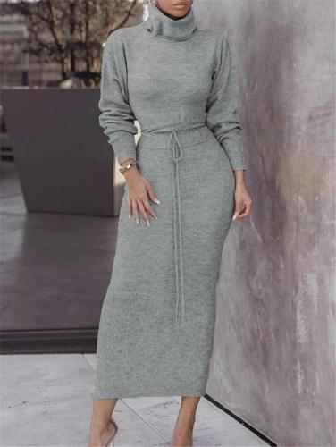 Solid Color Two-Piece Set High Neck Sweatshirt + Long Skirt