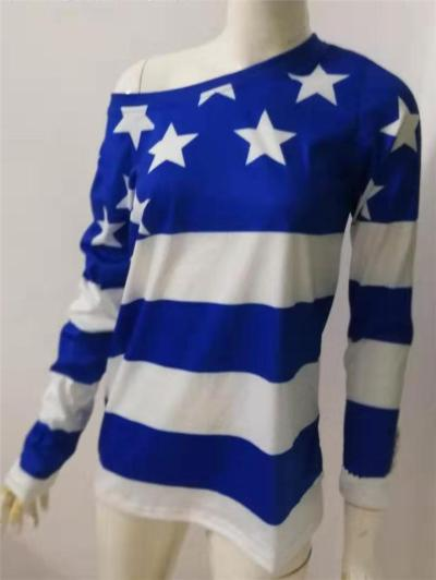 Relaxed Fit One Shoulder Flag Pattern Long Sleeve Pullover Tops