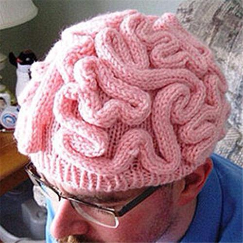 Creative Stretchy Brain Shape Handmade Cable Knitted Hat