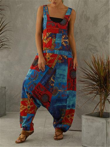 Loose Fit Scoop Neck Sleeveless Multicolor Pocket Jumpsuit
