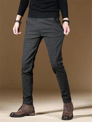 Mens Fashion Plaid Comfort Fit Straight Dress Pants