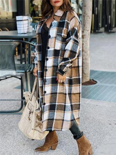 Stylish Lapel Collar Button Closure Multi-Pocket Plaid Long Woolen Coat