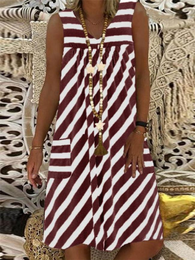 Relaxed Fit V Neck Striped Pocket Sleeveless Midi Shift Dress