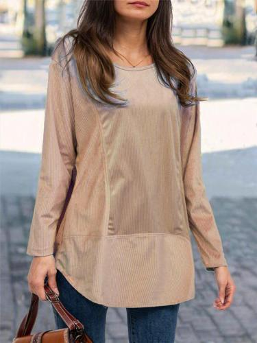 Relaxed Fit Round Neck Solid Color Pullover Basic Shirt