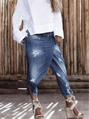 Slouchy Low-Rise Asymmetric Slit Cuff Cropped Denim Trousers