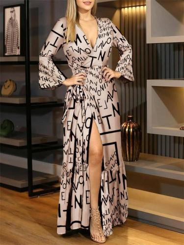 Letter Printing Flared Sleeve Slit Maxi Dress With Waistband