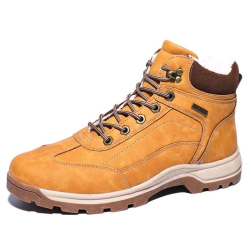 Mens Cozy Warm Lace-up Hiking Snow Boots