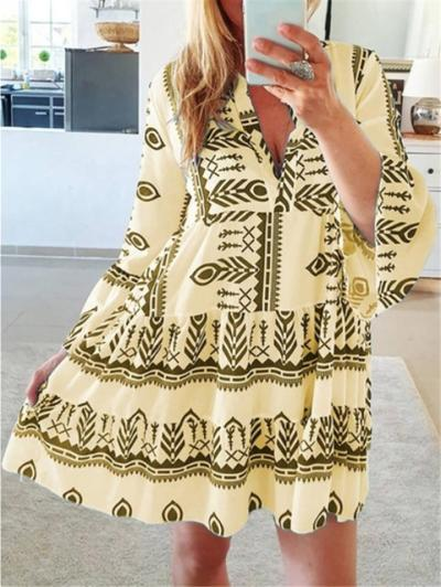Stylish V Neck Geometric Pattern Long Sleeve Flare Pleated Dress
