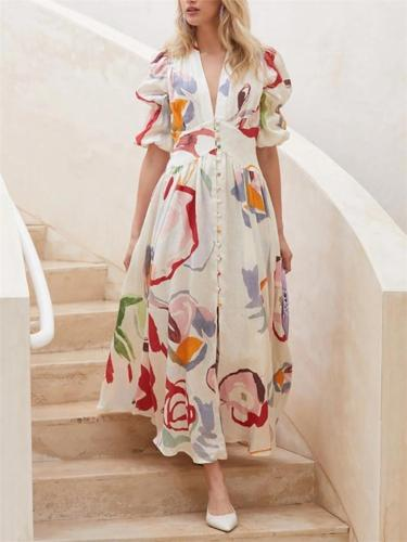 Button Up V Neck Long Sleeve Floral Chiffon Maxi Flare Dress