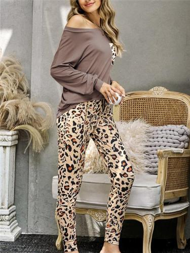 Two-Piece Leopard Pyjama Set Chest Pocket Pullover Tops + Drawstring Pants
