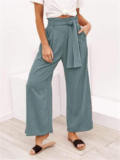 Relaxed Fit Solid Color Wide Leg Drawstring Pocket Pants