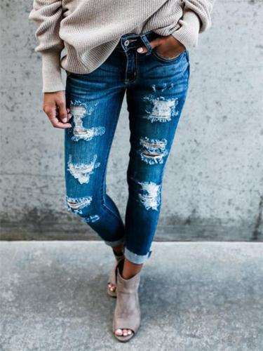 Fashionable Mid-Rise Ripped Design Multi-Pocket Skinny Jeans
