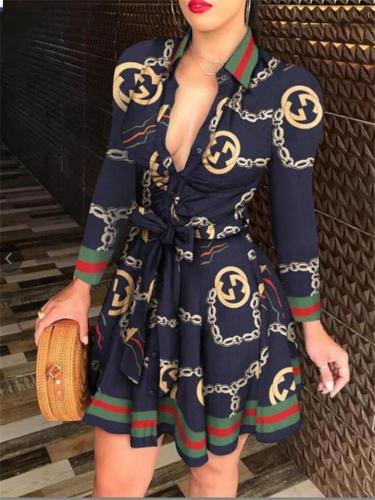 Stylish V Neck Printed Waist Tie Long Sleeve Lapel Collar Dress