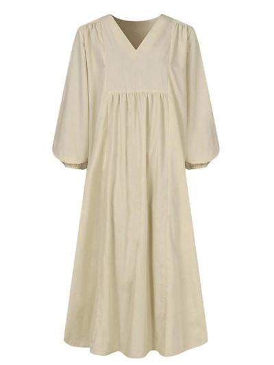 Minimalist Style V Neck Pleated Lantern Long Sleeve Cotton-Blend Dress