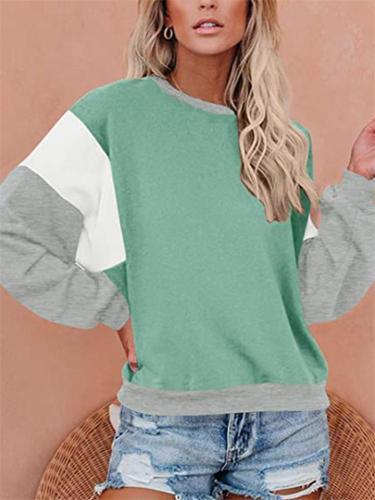 Oversized Color Block Elastic Sleeve Cuff Round Neck Sweatshirts