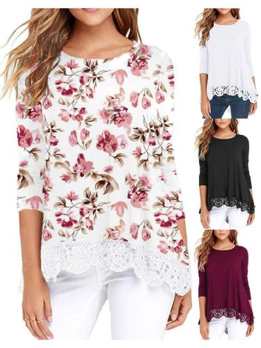 Relaxed Fit Round Neck Long Sleeve Floral Printed Lace Hem Tops