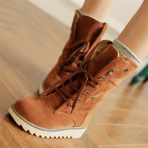 Extra Warm Lace Up Flat Heel Fur Lining Mid-Calf Snow Boots
