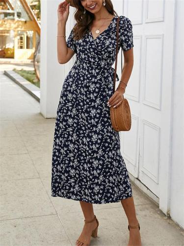 Trendy Wrap V Neck Floral Short Sleeve Fitted Waist Midi Dress