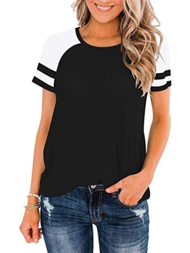 Regular Fit Round Neck Short Sleeve Striped Contrasting T-Shirt