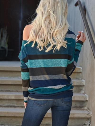 Casual Style One Shoulder Contrasting Striped Long Sleeve Pullover Tops