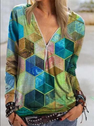 Loose Fit Half Zipper Hexagon Printed Contrasting Sweatshirt