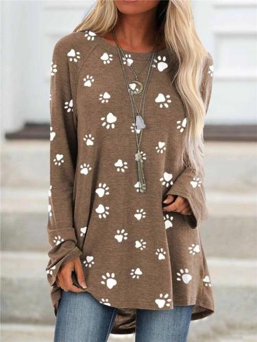 Loose Fit Round Neck Paw Printed Long Sleeve T-Shirt