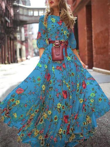 Flowy Round Neck 3/4 Sleeve Floral Printed Chiffon Maxi Dress
