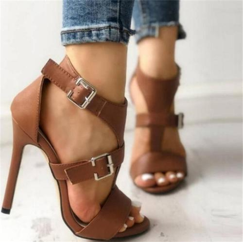 Stylish Buckle Up Stiletto High Heel Sandals
