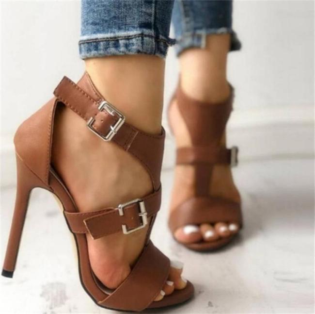 Stylish Buckle Up Stiletto High Heel Sandals