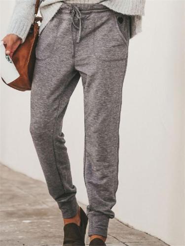 Women's Elastic Drawstring Pants With Pockets