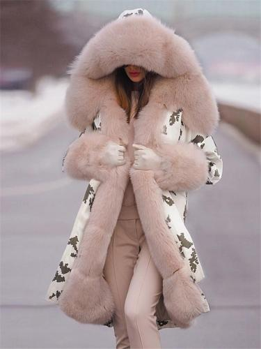 Women's Printing Warm Hooded Fur Collar Padded Coat
