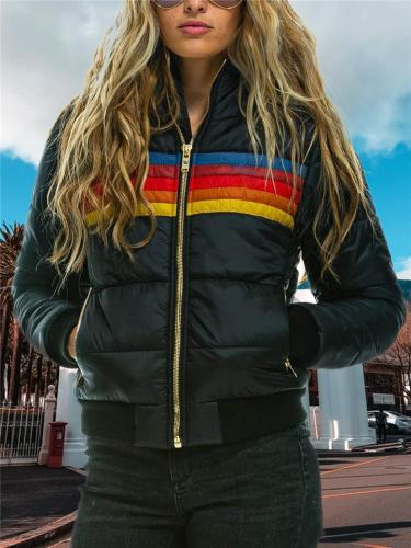 Relaxed Fit Full Zipper Striped Stand Collar Long Sleeve Padded Coat