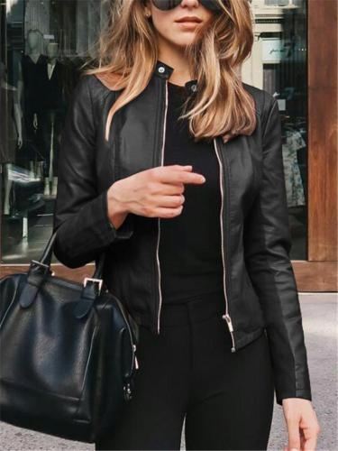 Easy Fit Full Zipper Solid Color Faux Leather Jackets