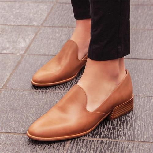 Comfort Pointed-Toe Leather Loafers