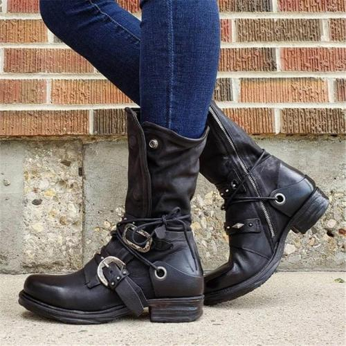 Vintage Style Side Zipper Chunky Low Heel Round Toe Boots